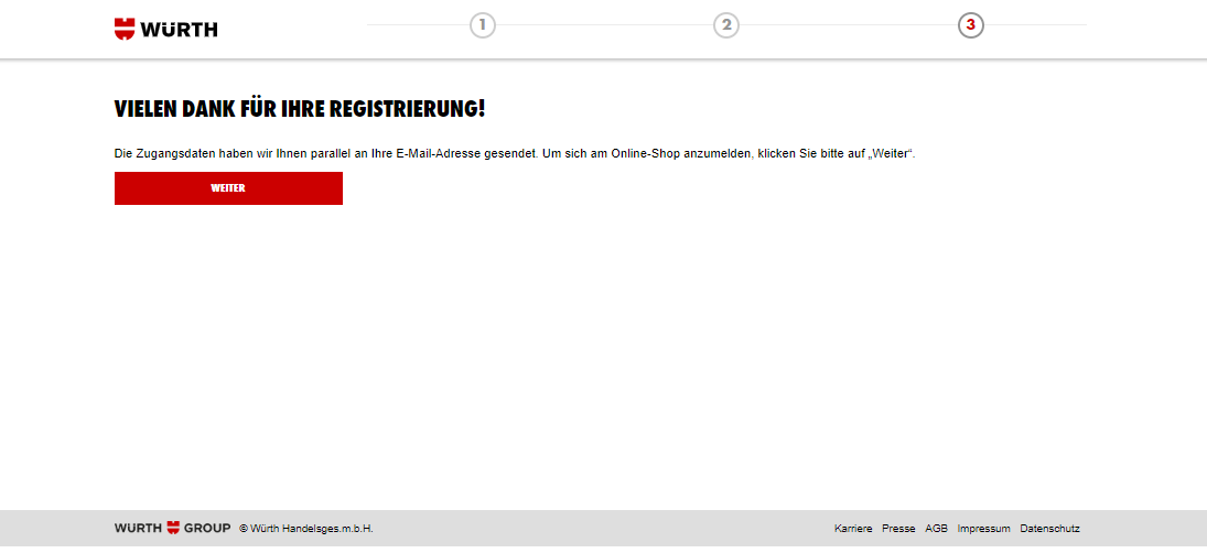 Abschluss Registrierung Online-Shop