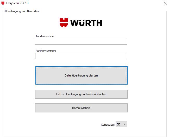 Die Barcodes an den Würth Online-Shop übertragen.