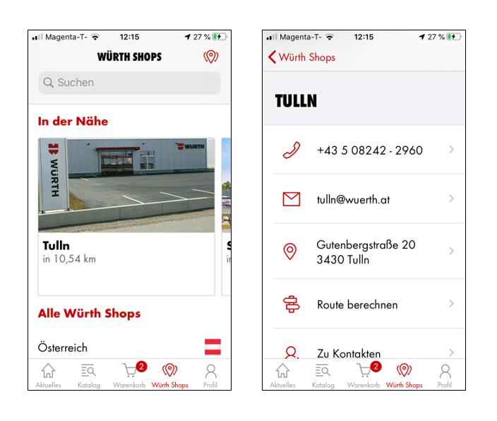 Der nächste Würth Shop ist schnell gefunden mit der Würth App!