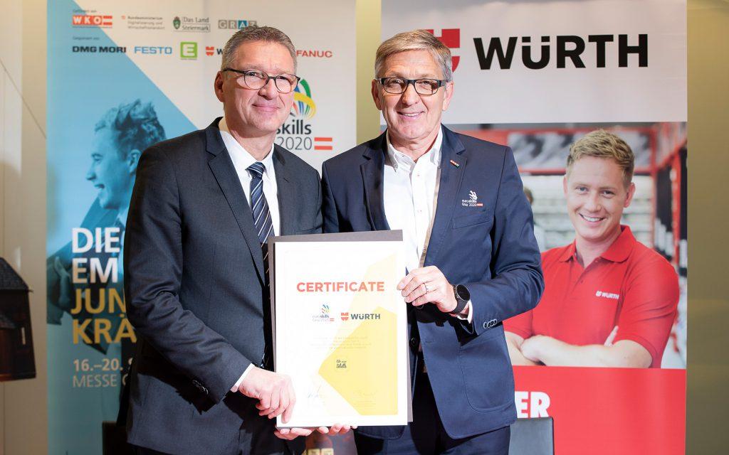 In Graz wurde der Sponsorenvertrag zwischen Josef Herk, Aufsichtsratsvorsitzender EuroSkills 2020 GmbH (rechts) und Willi Trumler, Geschäftsführer Würth Österreich (links) unterzeichnet.